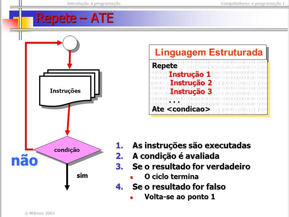 não Repete – ATE Linguagem Estruturada As instruções são executadas
