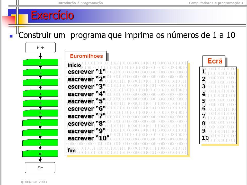Exercício Construir um programa que imprima os números de 1 a 10 Ecrã