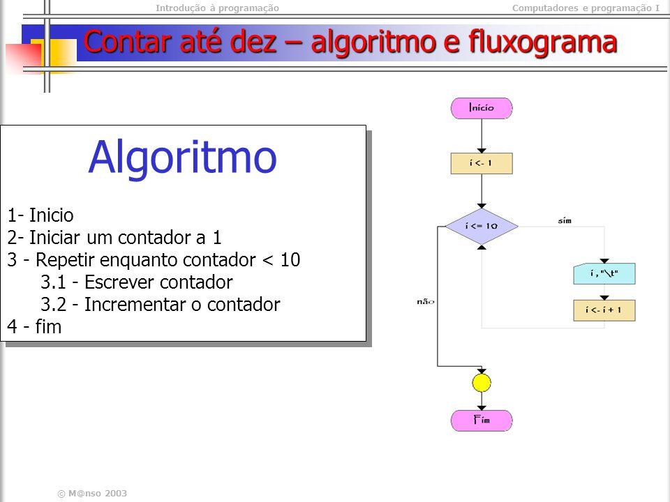 Contar até dez – algoritmo e fluxograma