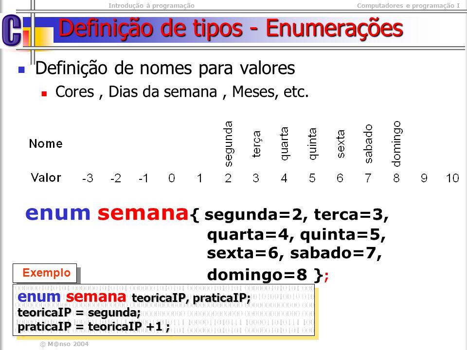 Definição de tipos - Enumerações