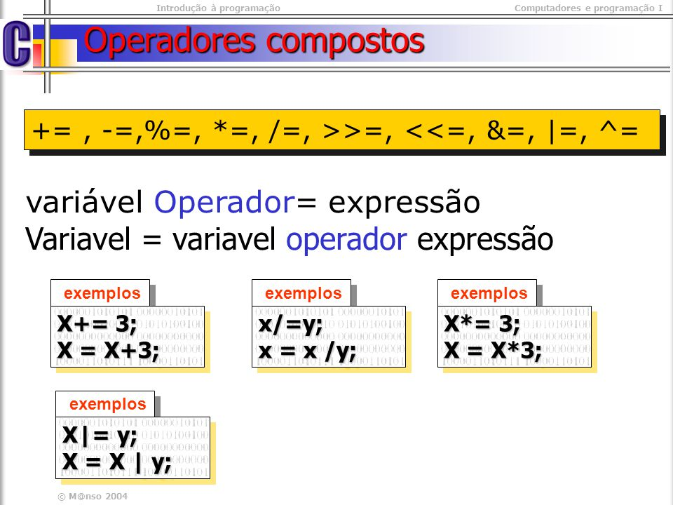 Operadores compostos Variavel = variavel operador expressão