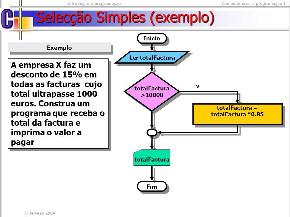 Selecção Simples (exemplo)