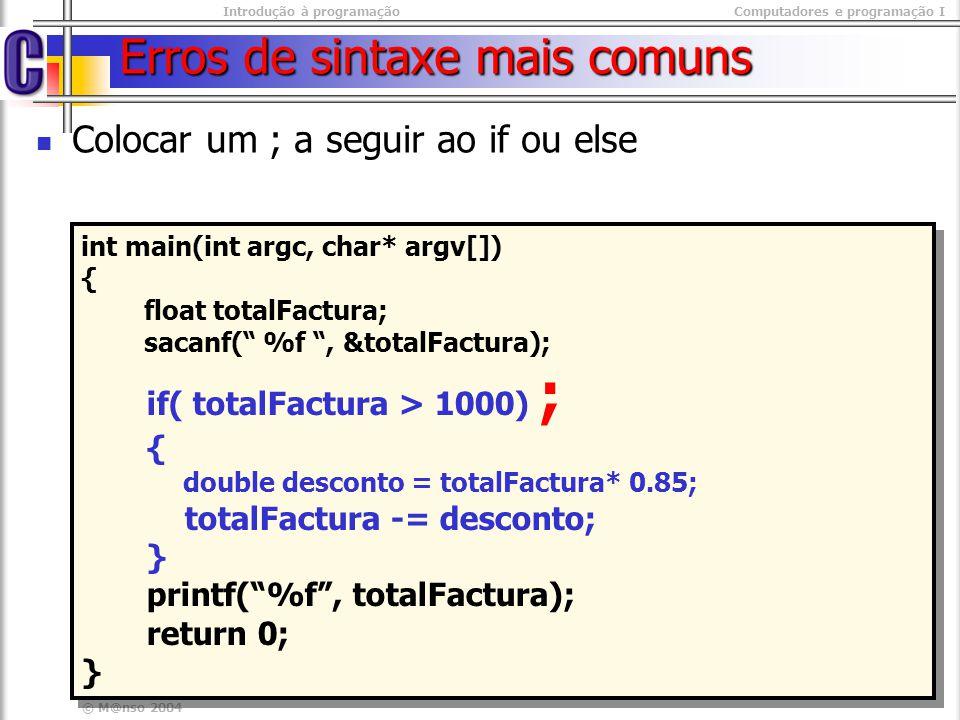 Erros de sintaxe mais comuns