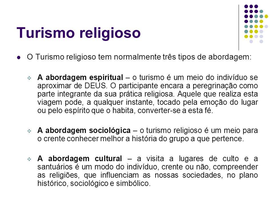 Turismo religioso O Turismo religioso tem normalmente três tipos de abordagem: