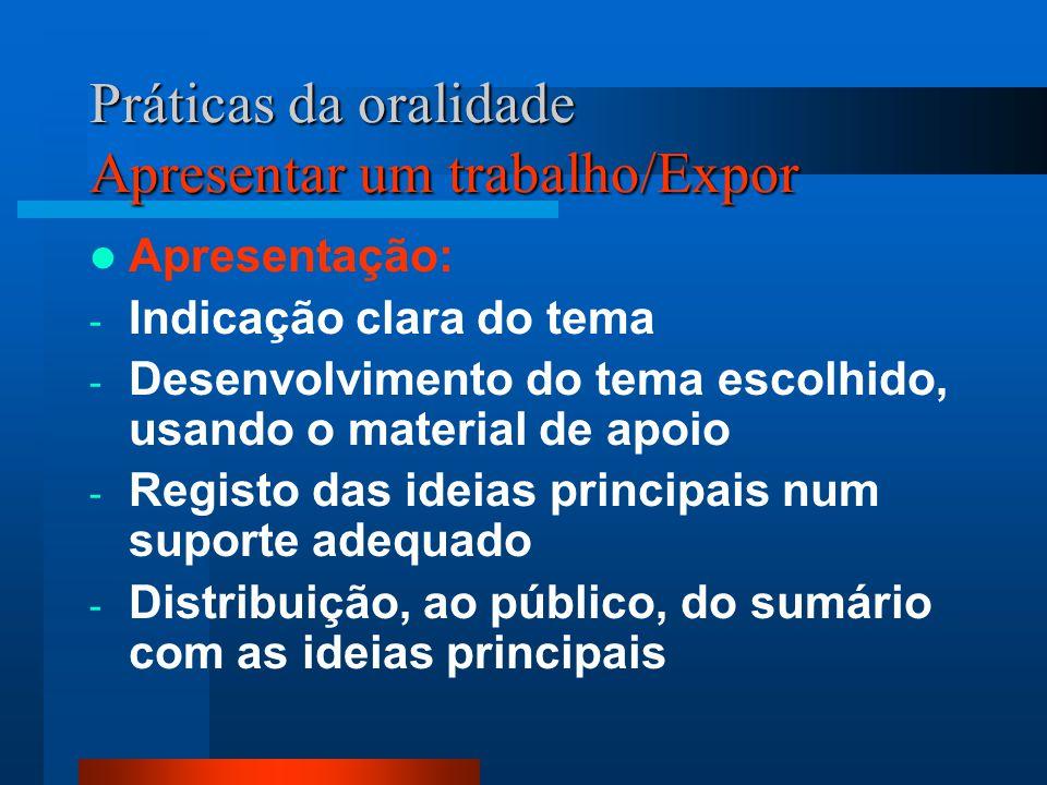 Práticas da oralidade Apresentar um trabalho/Expor