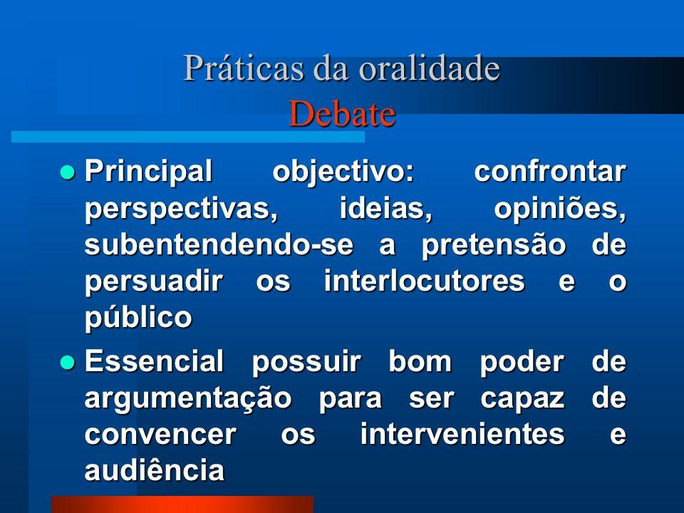 Práticas da oralidade Debate