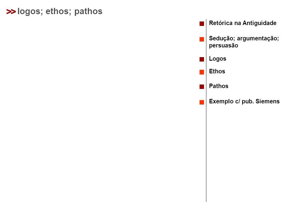 > > logos; ethos; pathos Retórica na Antiguidade