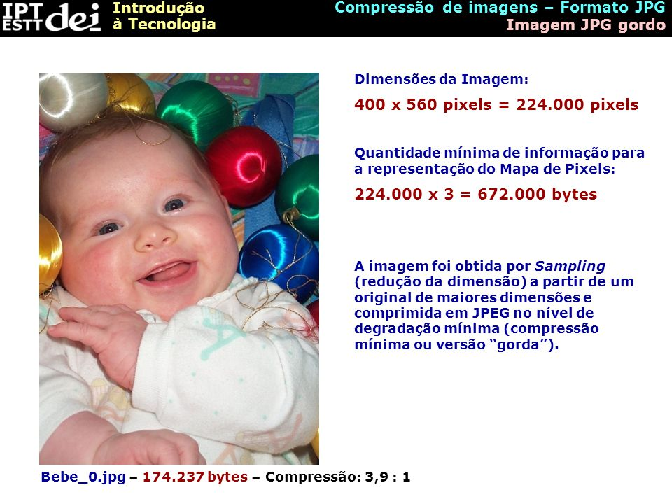 Compressão de imagens – Formato JPG Imagem JPG gordo