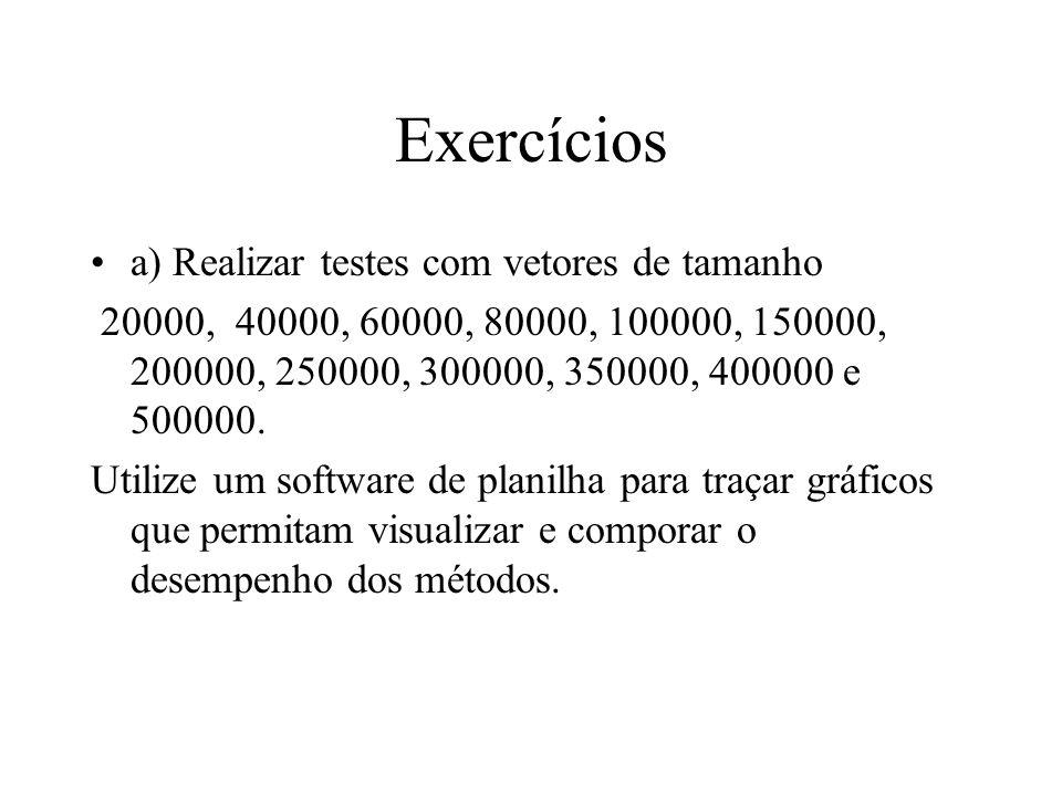 Exercícios a) Realizar testes com vetores de tamanho