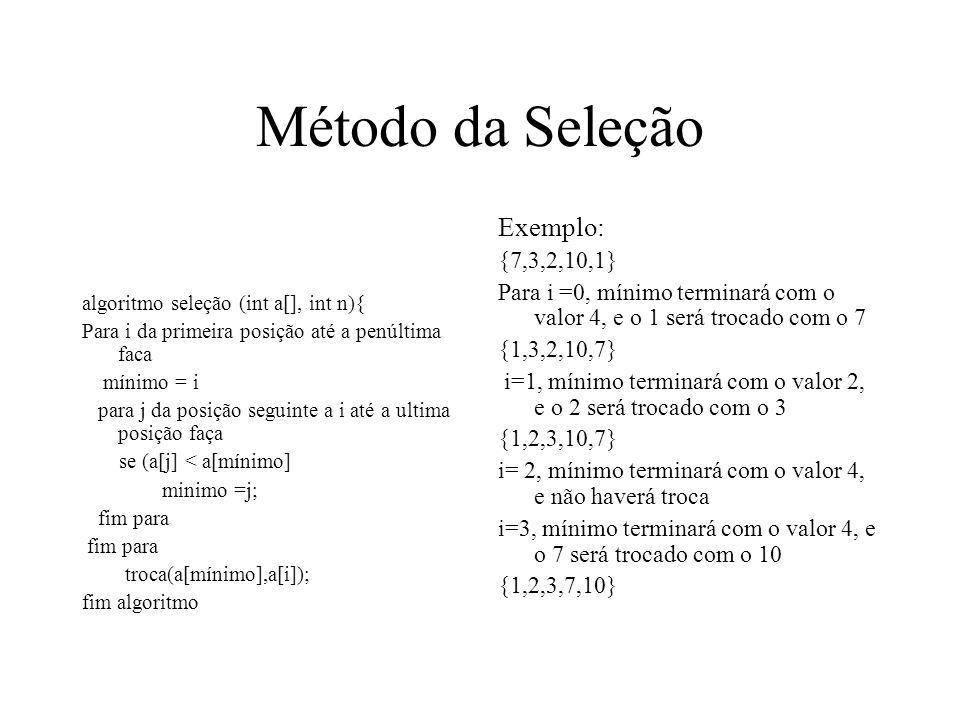 Método da Seleção Exemplo: {7,3,2,10,1}