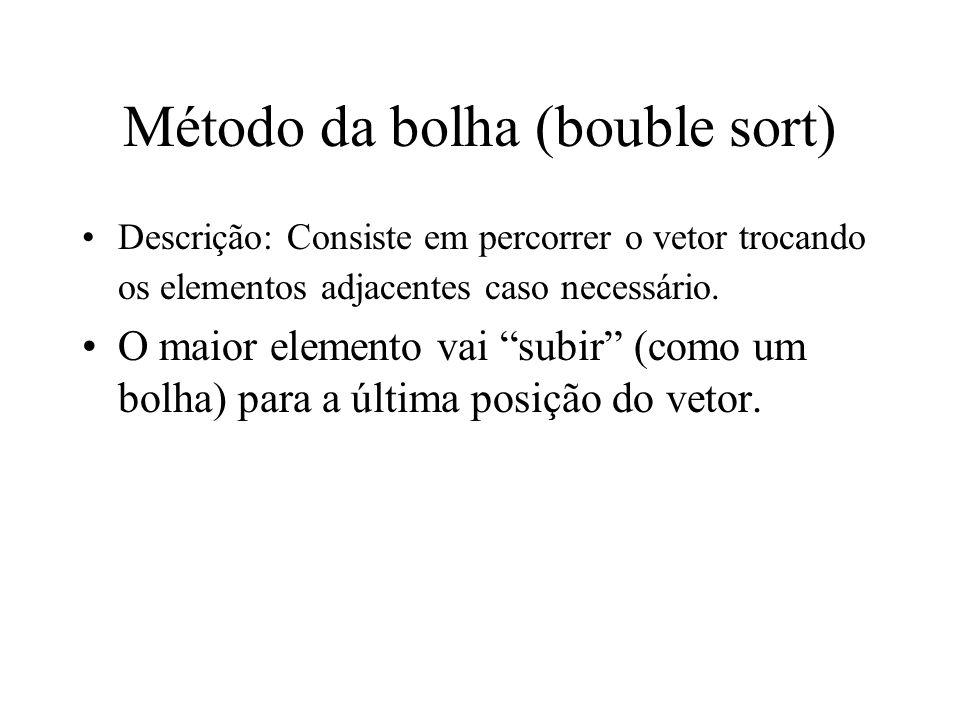 Método da bolha (bouble sort)