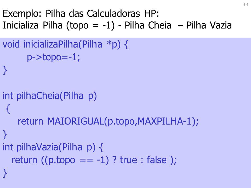 Exemplo: Pilha das Calculadoras HP: Inicializa Pilha (topo = -1) - Pilha Cheia – Pilha Vazia