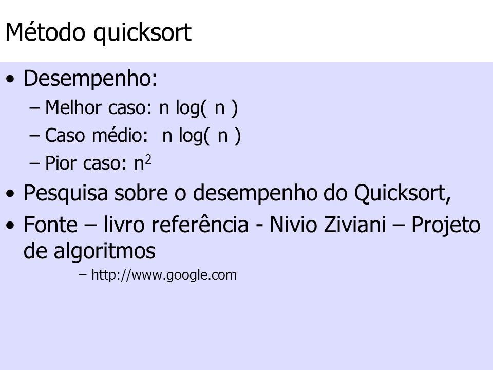 Método quicksort Desempenho: Pesquisa sobre o desempenho do Quicksort,