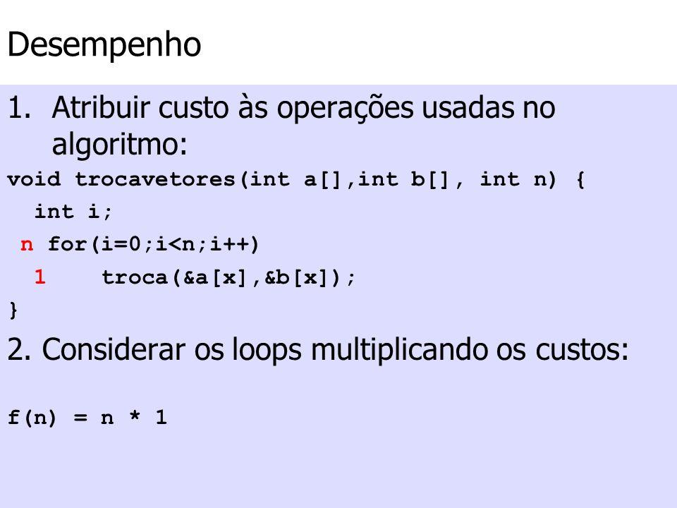 Desempenho Atribuir custo às operações usadas no algoritmo: