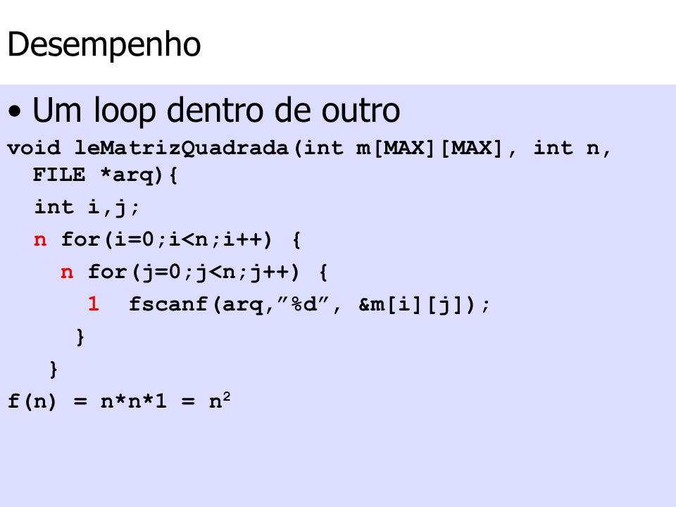 Desempenho Um loop dentro de outro