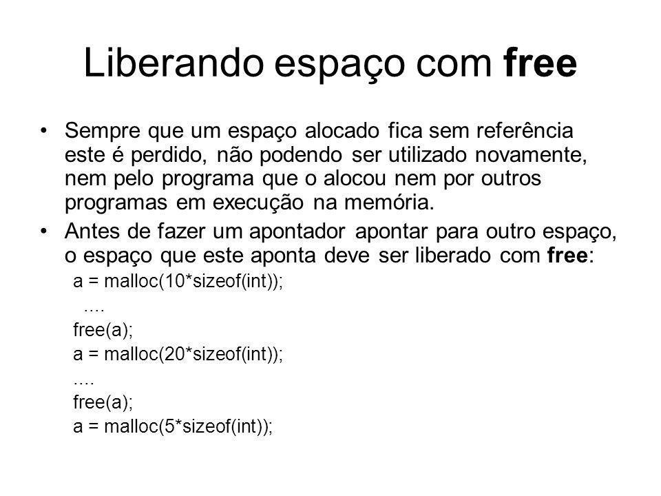 Liberando espaço com free