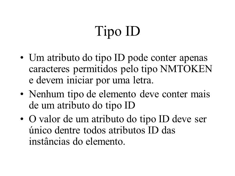 Tipo ID Um atributo do tipo ID pode conter apenas caracteres permitidos pelo tipo NMTOKEN e devem iniciar por uma letra.