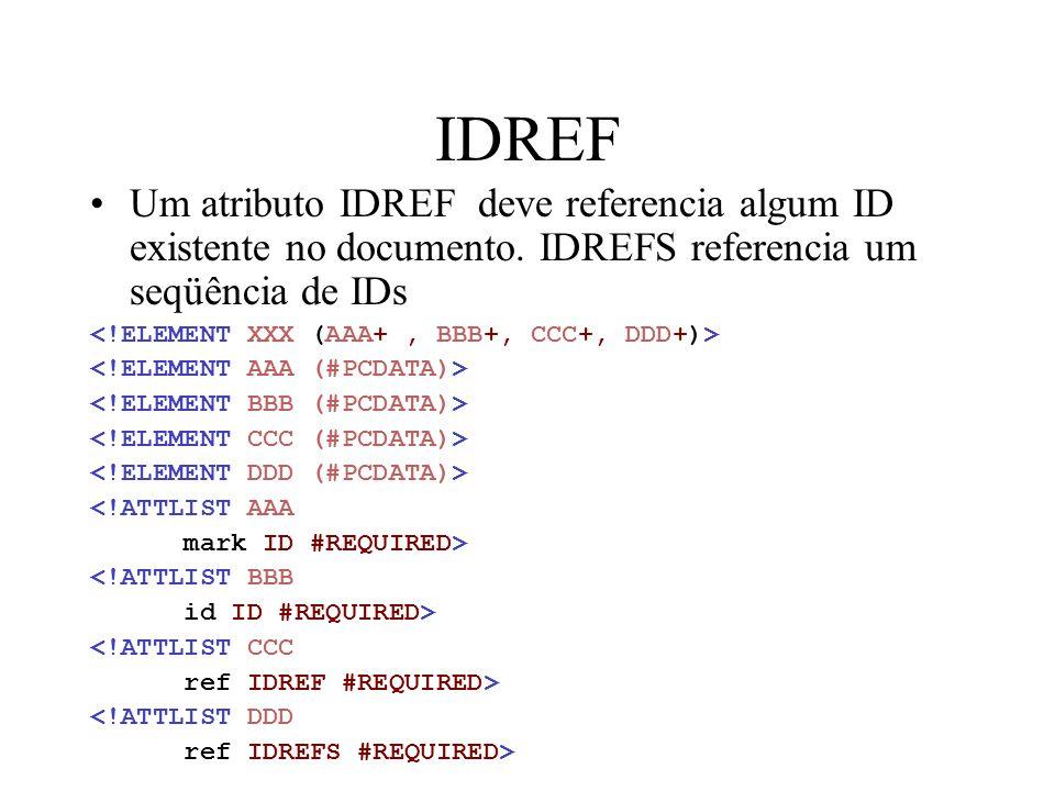 IDREF Um atributo IDREF deve referencia algum ID existente no documento. IDREFS referencia um seqüência de IDs.