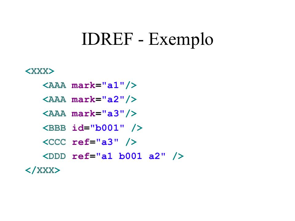 IDREF - Exemplo <XXX> <AAA mark= a1 />
