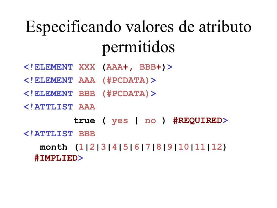 Especificando valores de atributo permitidos