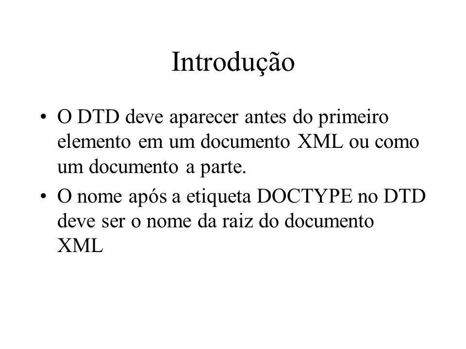 Introdução O DTD deve aparecer antes do primeiro elemento em um documento XML ou como um documento a parte.