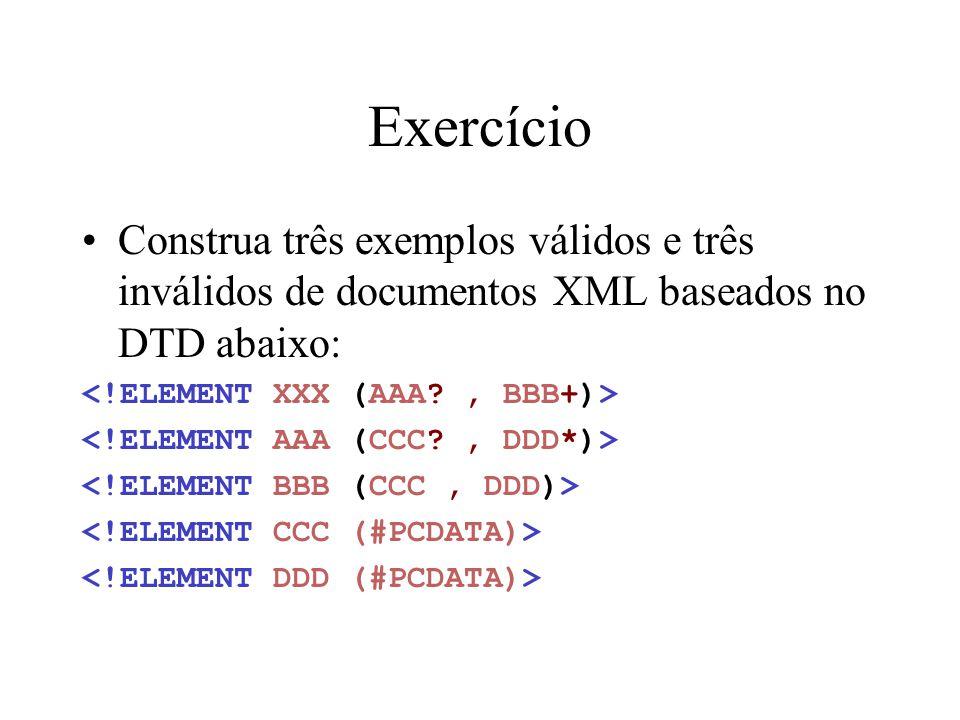 Exercício Construa três exemplos válidos e três inválidos de documentos XML baseados no DTD abaixo: