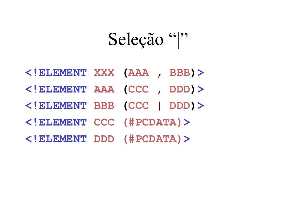 Seleção | <!ELEMENT XXX (AAA , BBB)>