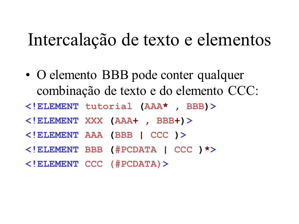 Intercalação de texto e elementos