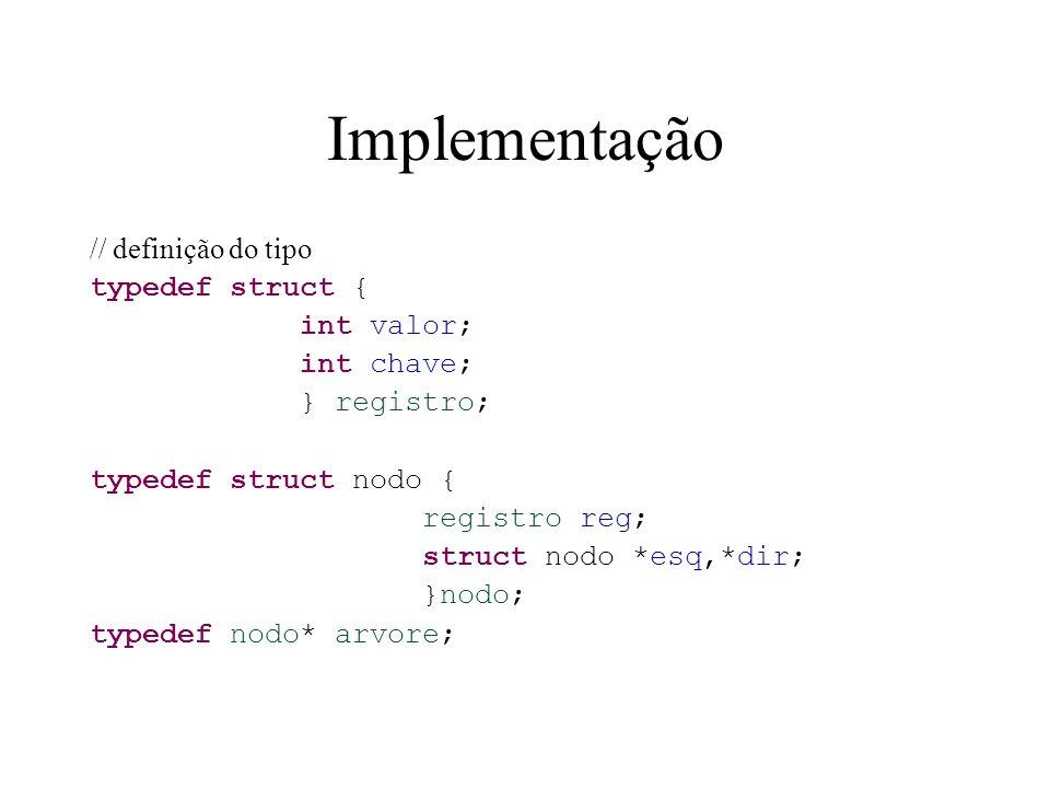 Implementação // definição do tipo typedef struct { int valor;