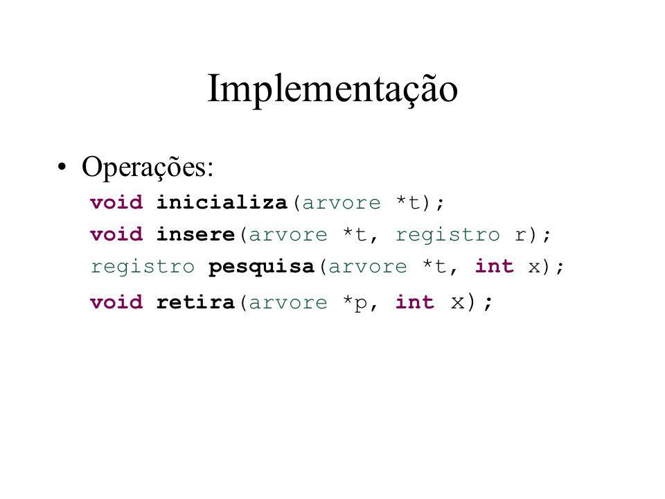 Implementação Operações: void inicializa(arvore *t);