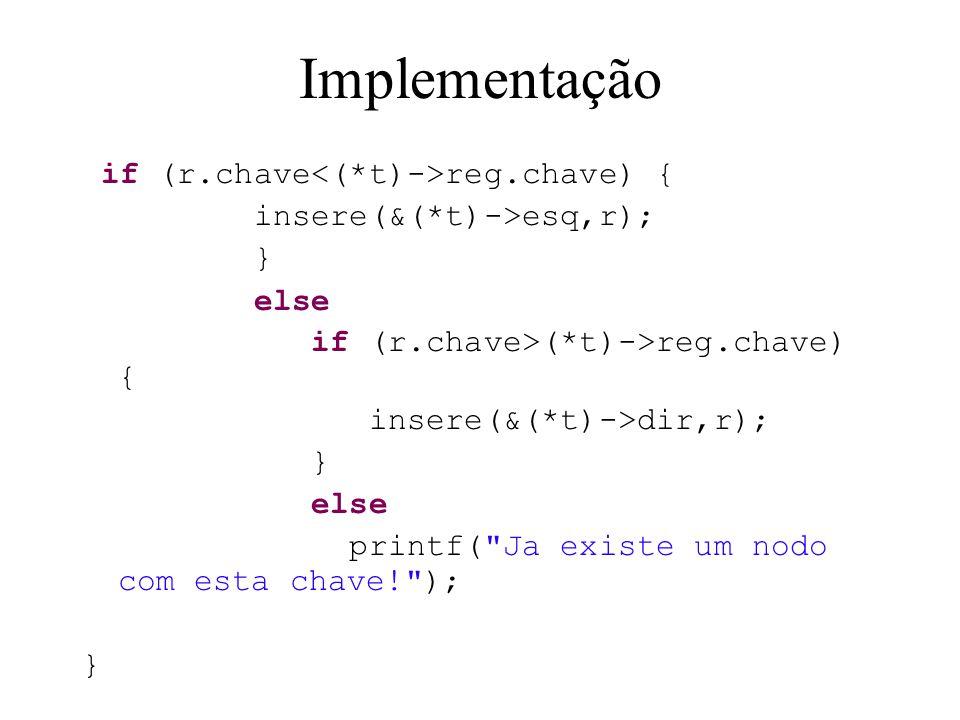Implementação if (r.chave<(*t)->reg.chave) {