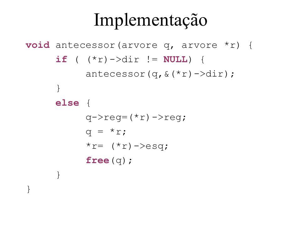 Implementação void antecessor(arvore q, arvore *r) {