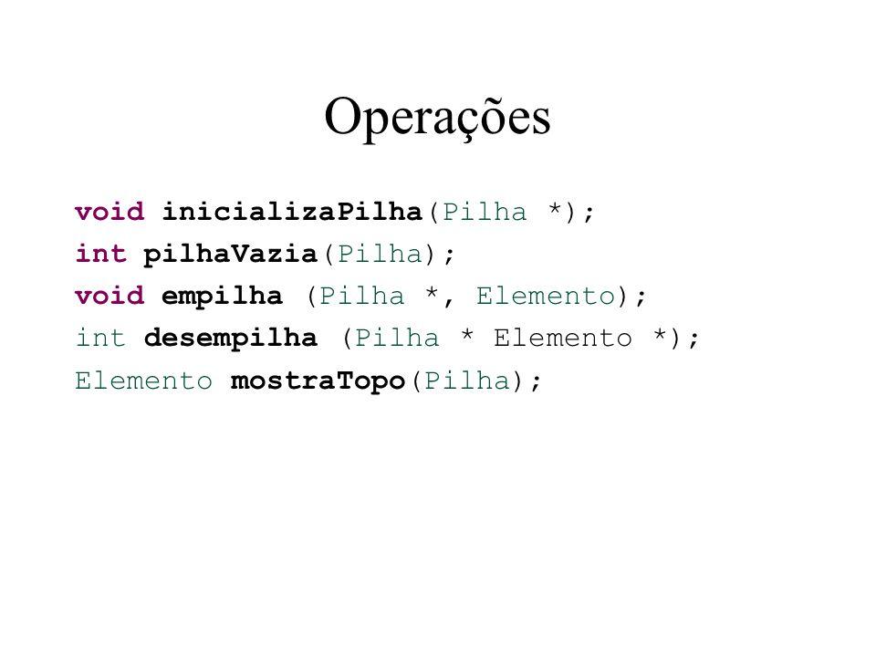 Operações void inicializaPilha(Pilha *); int pilhaVazia(Pilha);