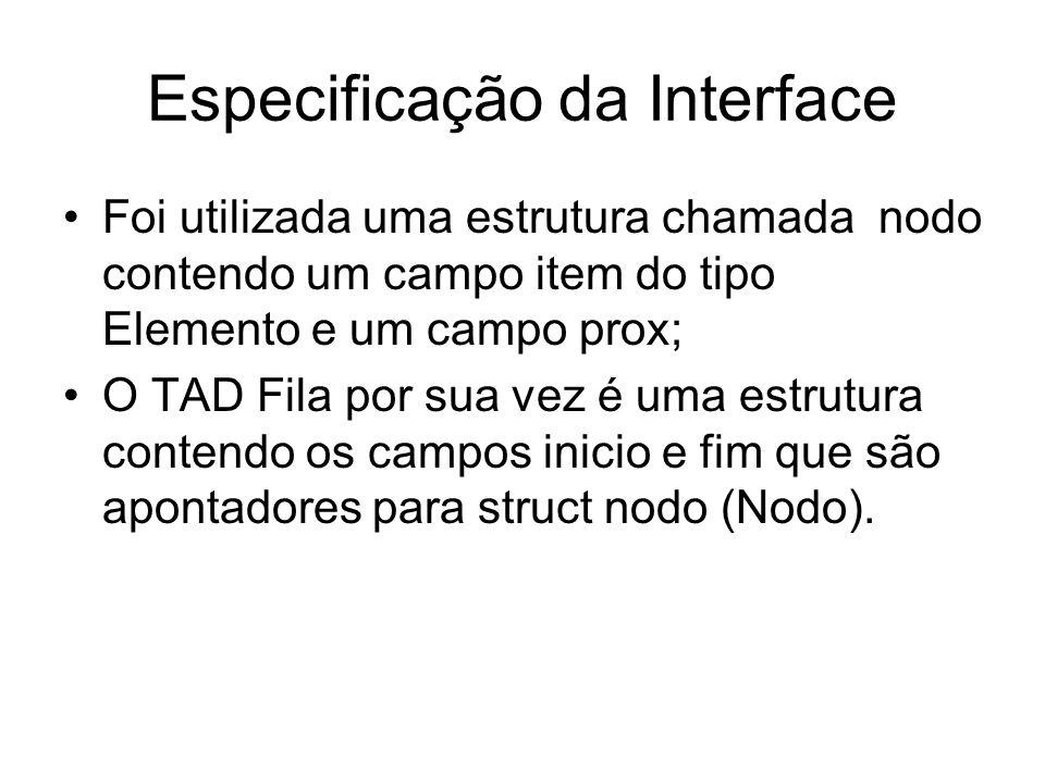 Especificação da Interface