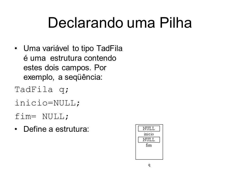 Declarando uma Pilha TadFila q; inicio=NULL; fim= NULL;