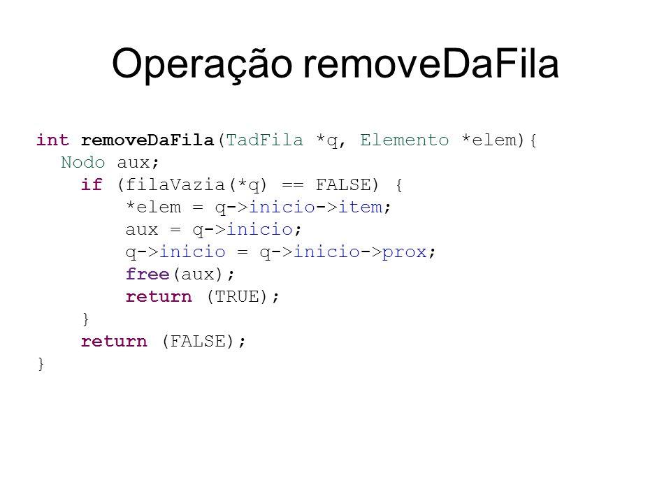 Operação removeDaFila