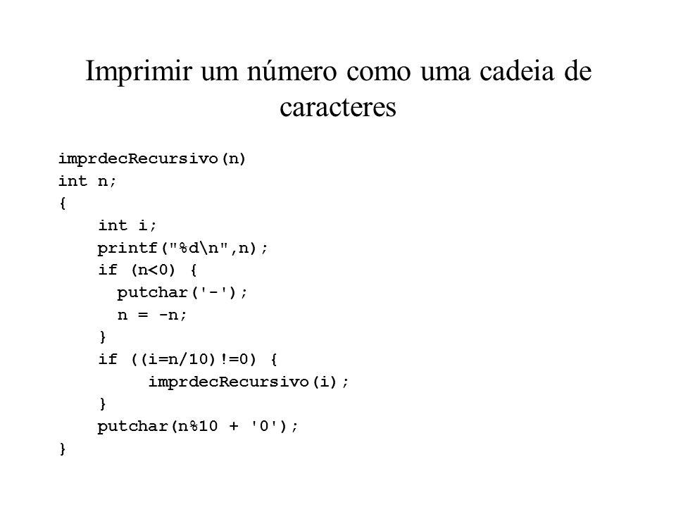Imprimir um número como uma cadeia de caracteres
