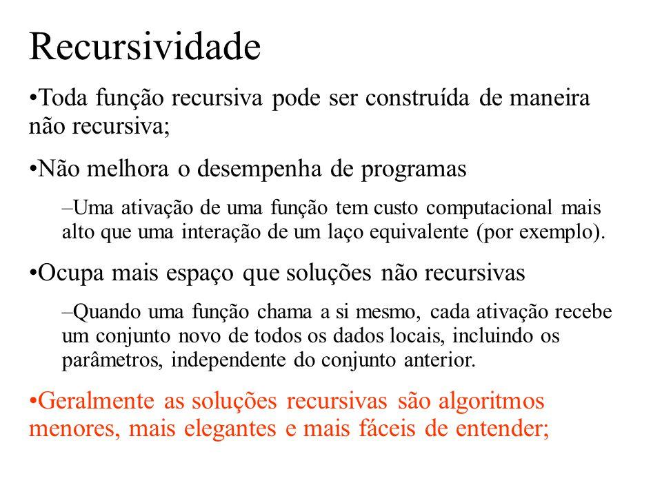 Recursividade Toda função recursiva pode ser construída de maneira não recursiva; Não melhora o desempenha de programas.
