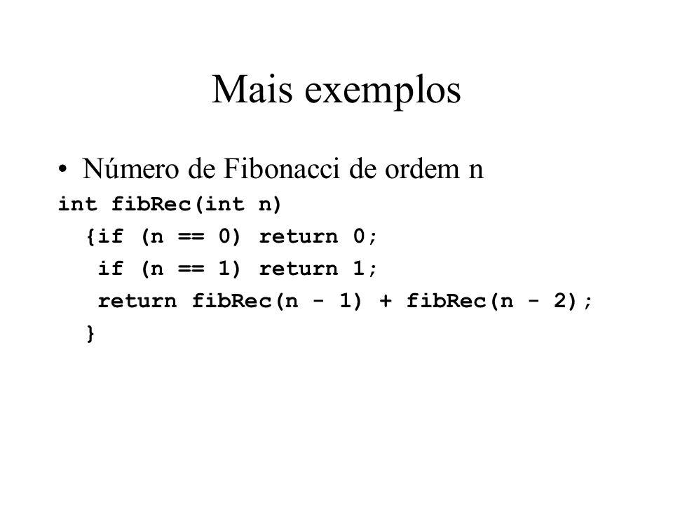 Mais exemplos Número de Fibonacci de ordem n int fibRec(int n)
