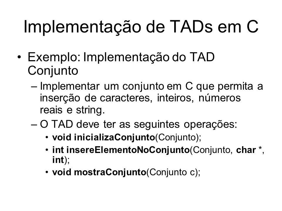 Implementação de TADs em C