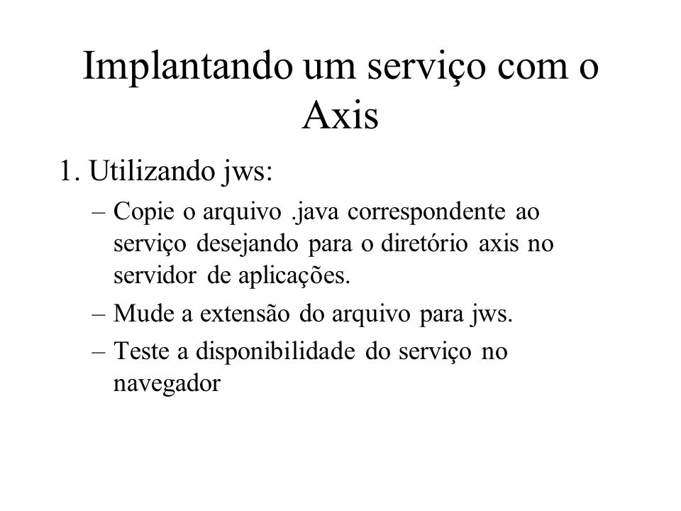 Implantando um serviço com o Axis