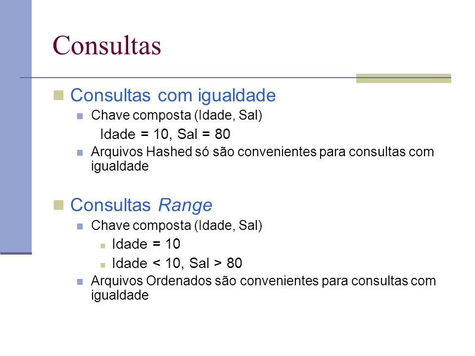Consultas Consultas com igualdade Consultas Range Idade = 10, Sal = 80