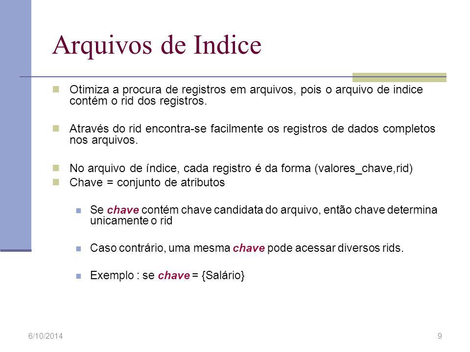 Arquivos de Indice Otimiza a procura de registros em arquivos, pois o arquivo de indice contém o rid dos registros.