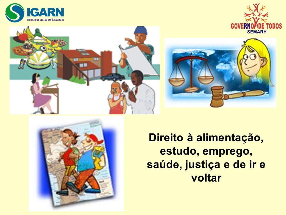 Direito à alimentação, estudo, emprego, saúde, justiça e de ir e voltar