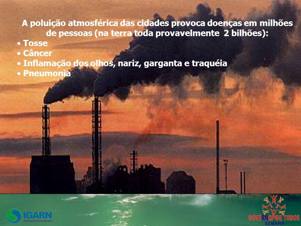 A poluição atmosférica das cidades provoca doenças em milhões de pessoas (na terra toda provavelmente 2 bilhões):