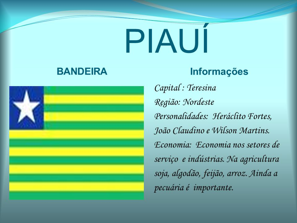 PIAUÍ BANDEIRA Informações
