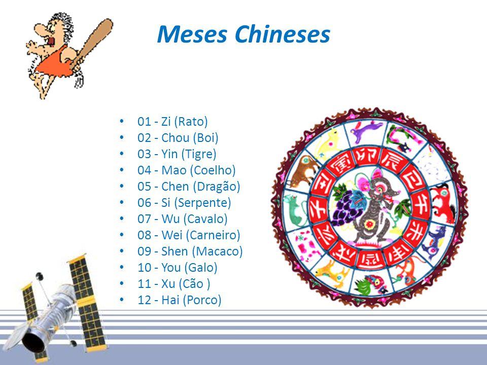 Meses Chineses 01 - Zi (Rato) 02 - Chou (Boi) 03 - Yin (Tigre)