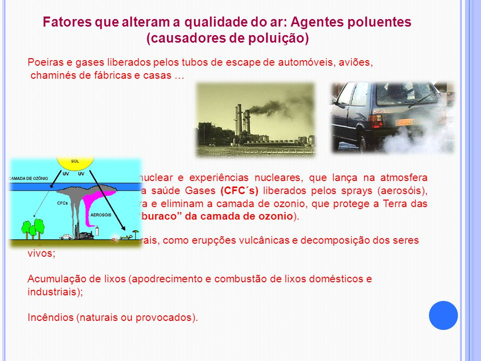 Fatores que alteram a qualidade do ar: Agentes poluentes