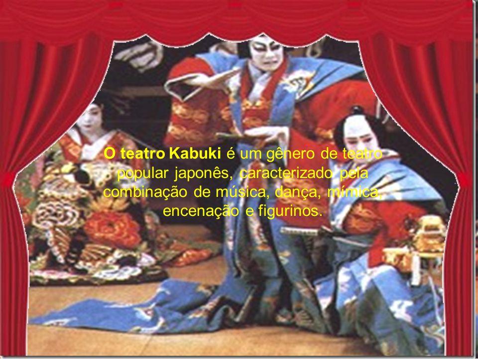 O teatro Kabuki é um gênero de teatro popular japonês, caracterizado pela combinação de música, dança, mímica, encenação e figurinos.
