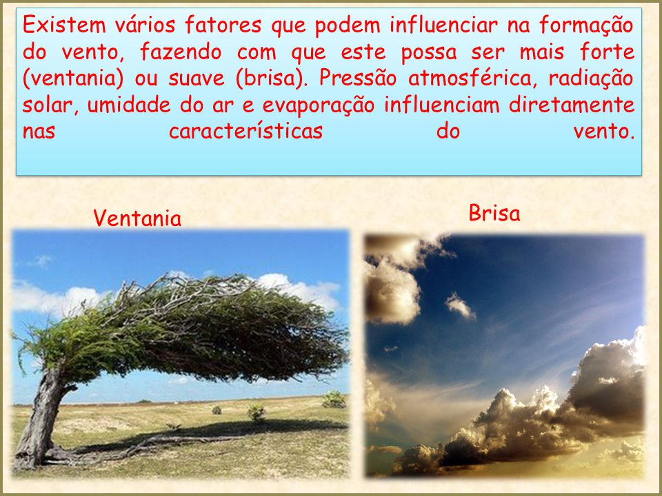 Existem vários fatores que podem influenciar na formação do vento, fazendo com que este possa ser mais forte (ventania) ou suave (brisa). Pressão atmosférica, radiação solar, umidade do ar e evaporação influenciam diretamente nas características do vento.